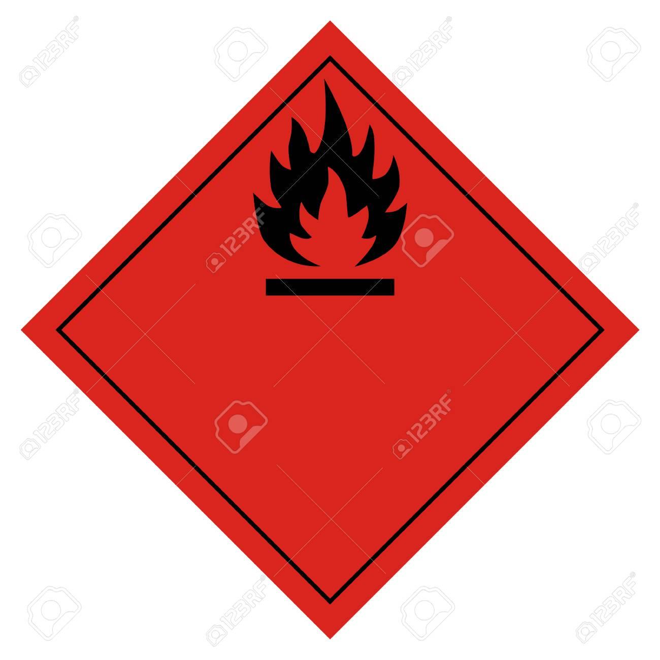Raster illustration hazard pictogram- flammable transport sign isolated on white background. Dangerous goods transport - 94138553