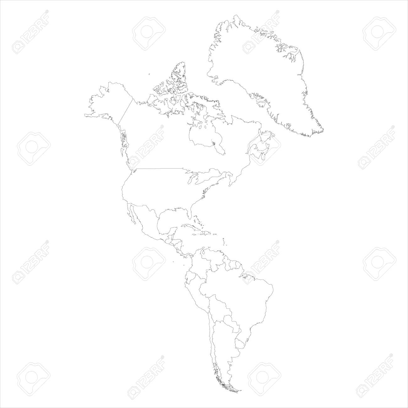 Raster illustration map of South and North America isolated on.. on map of america map, drawing mexico map, united states of america map, drawing canada map, drawing france map,