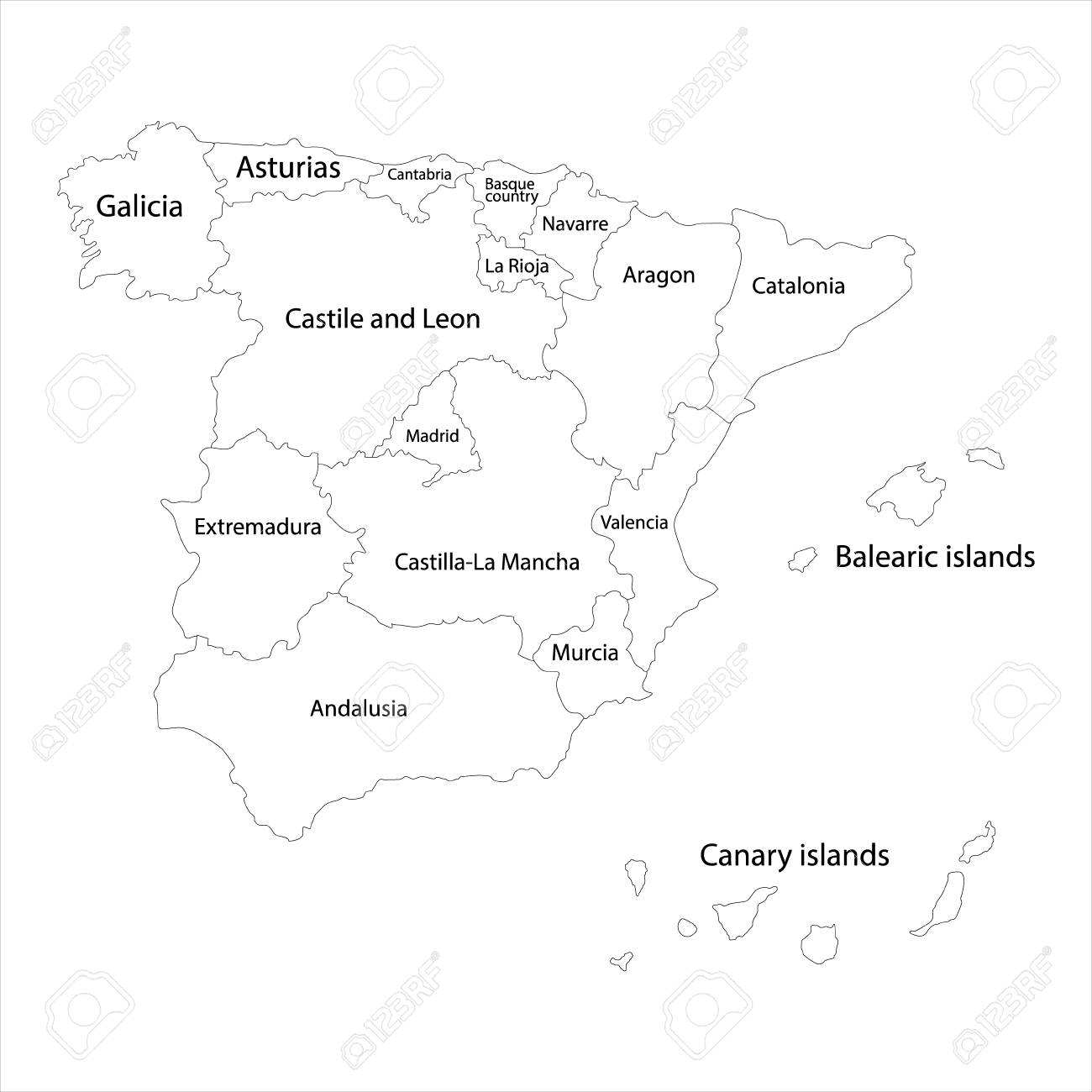 Map Of Spain Drawing.Raster Illustration Outline Line Drawing Of Spain Regions Map