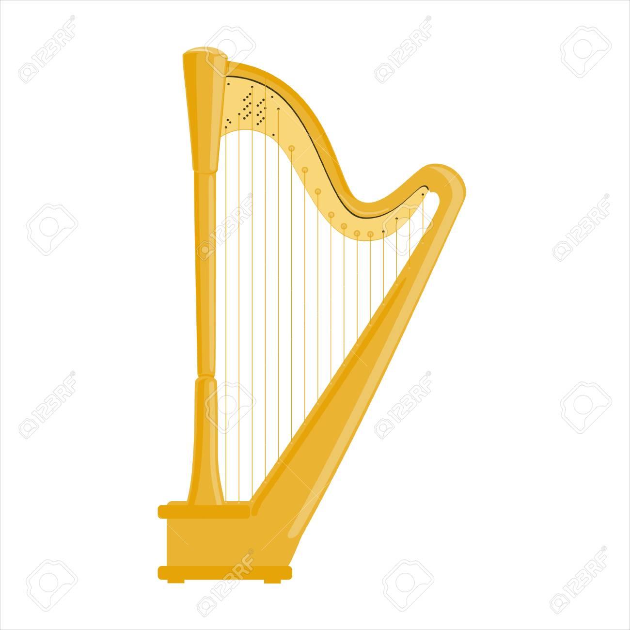 Raster illustration classical music instrumet. Pedal harp isolated on white background. - 94138158