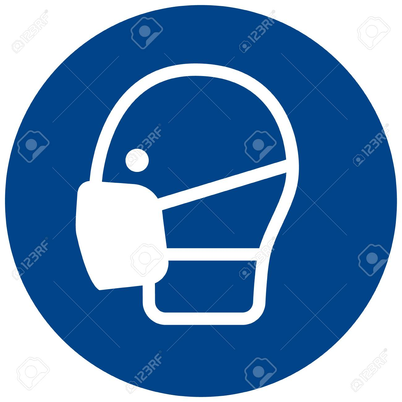 Mandatory sign vector Safety face mask must be worn, safety protection mask symbol, label, sticker - 97418050