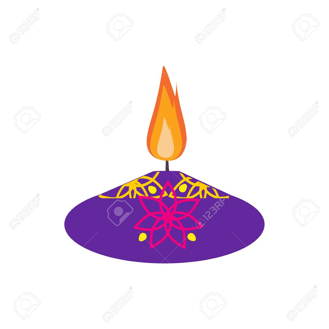 Raster illustration diya lamp lit during diwali festival happy illustration raster illustration diya lamp lit during diwali festival happy diwali greetings card design indian hindu festival of lights called diwali m4hsunfo