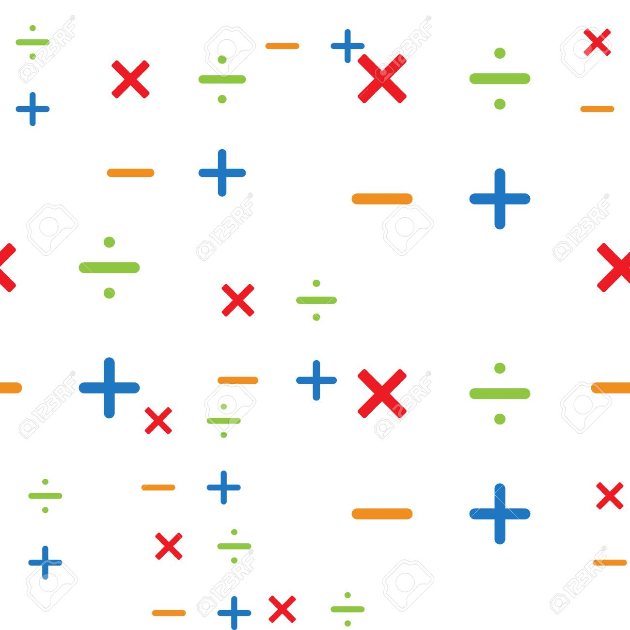 Mathematics Pattern Background With Different Math Symbols Stock