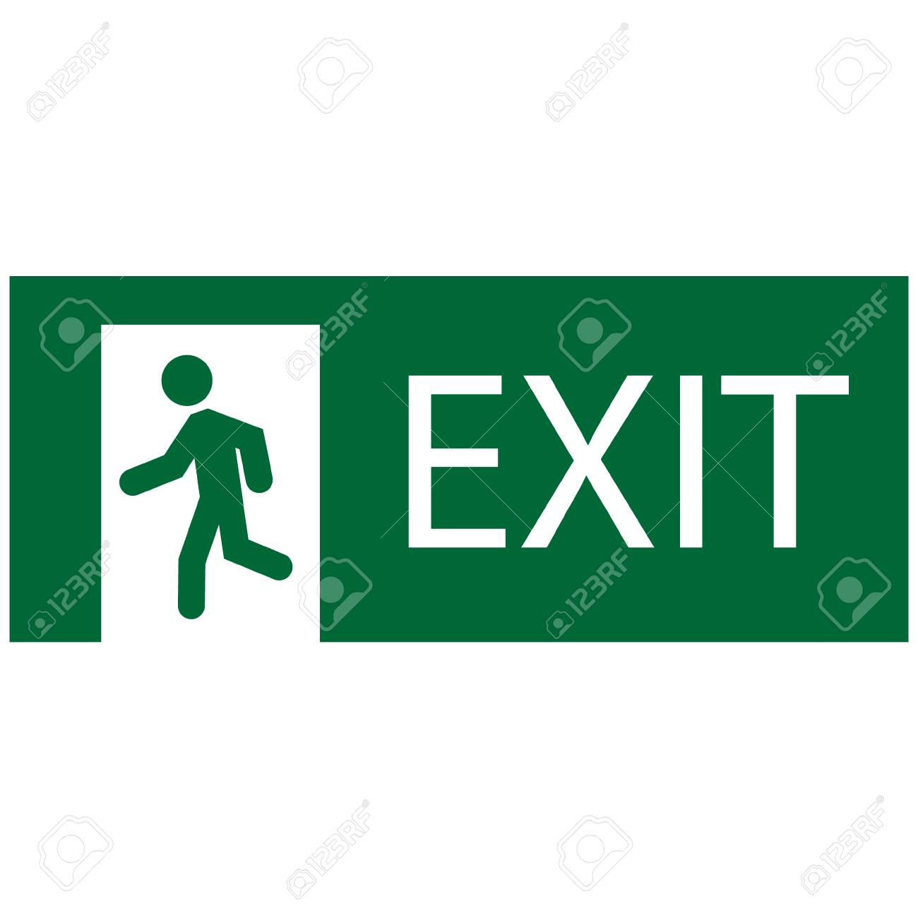 Raster Illustration Green Emergency Exit Sign Symbol Icon Isolated