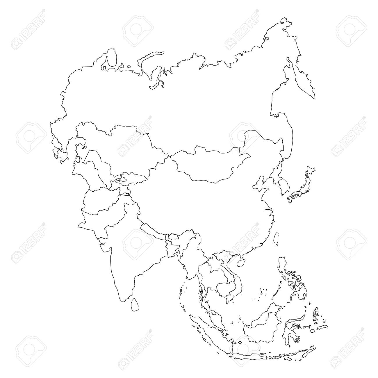 Raster Illustration Asia Outline Map Isolated On White Background ...