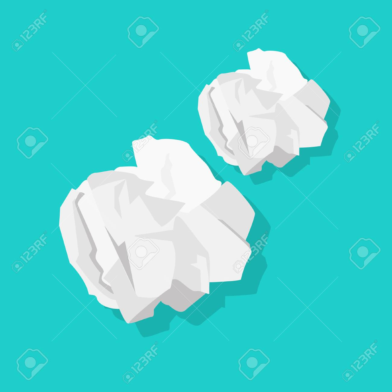 Crumpled paper ball vector illustration isolated on blue background - 101686560