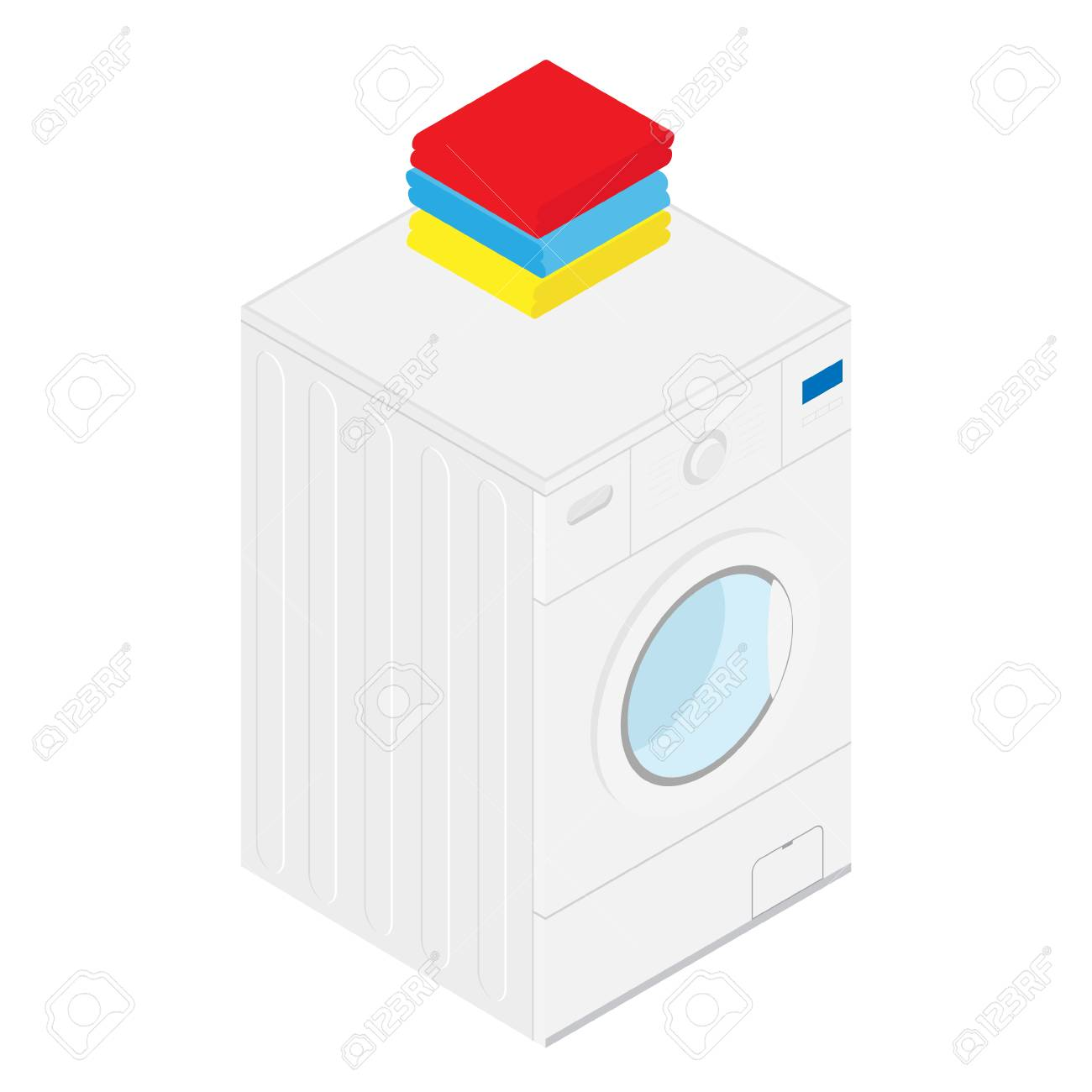 Isometric Washing Machine And Folded Towels Bathroom Interior ...