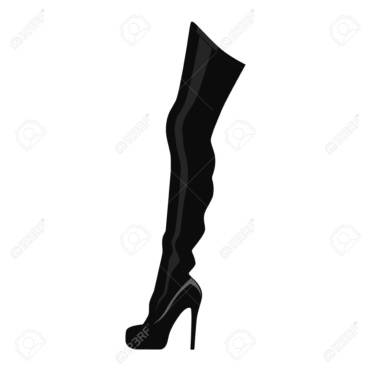 Vector illustration black thigh high boots isolated on white background. Woman fashion boots design - 108774742