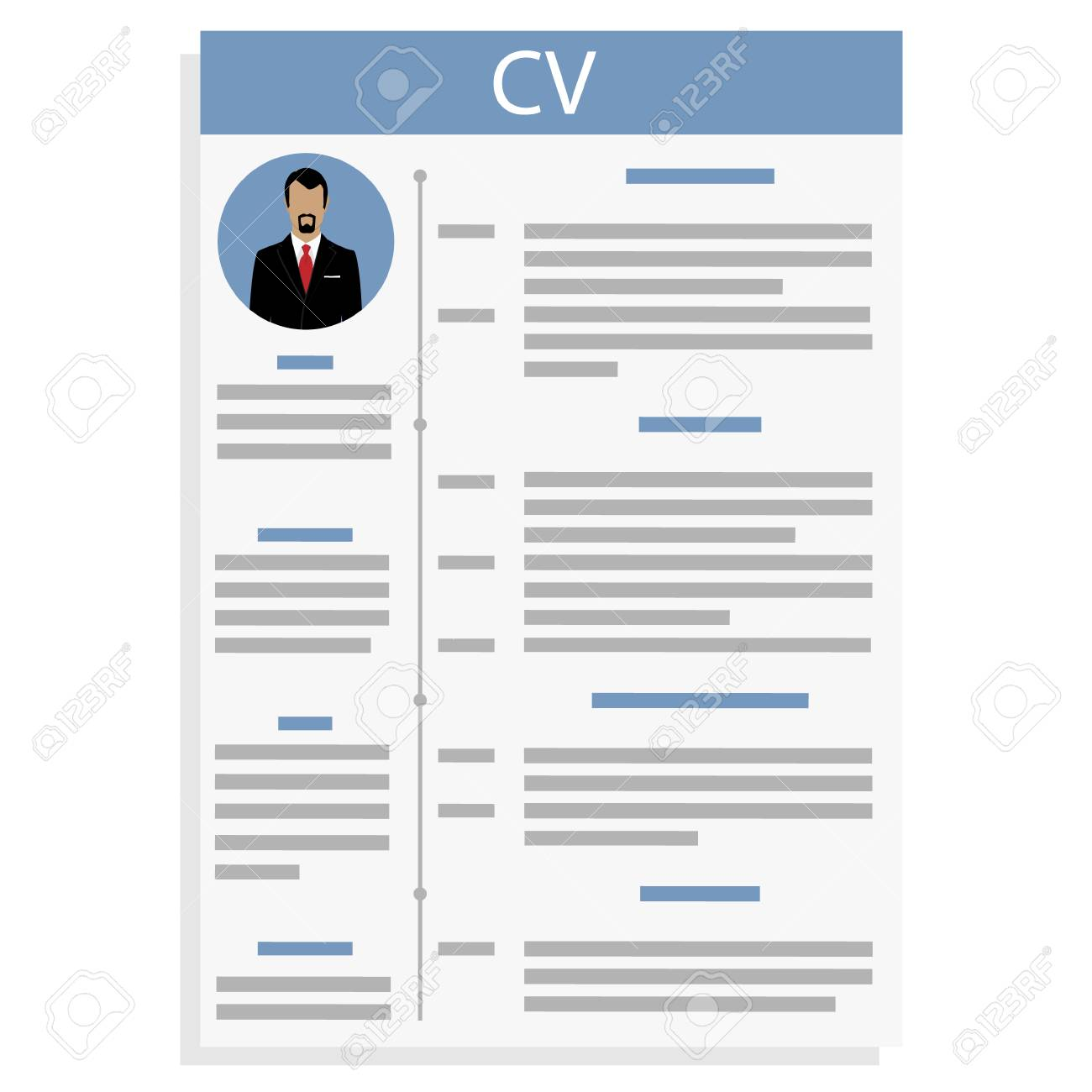 Vector Illustration Cv Or Resume Design Template With Man Photo