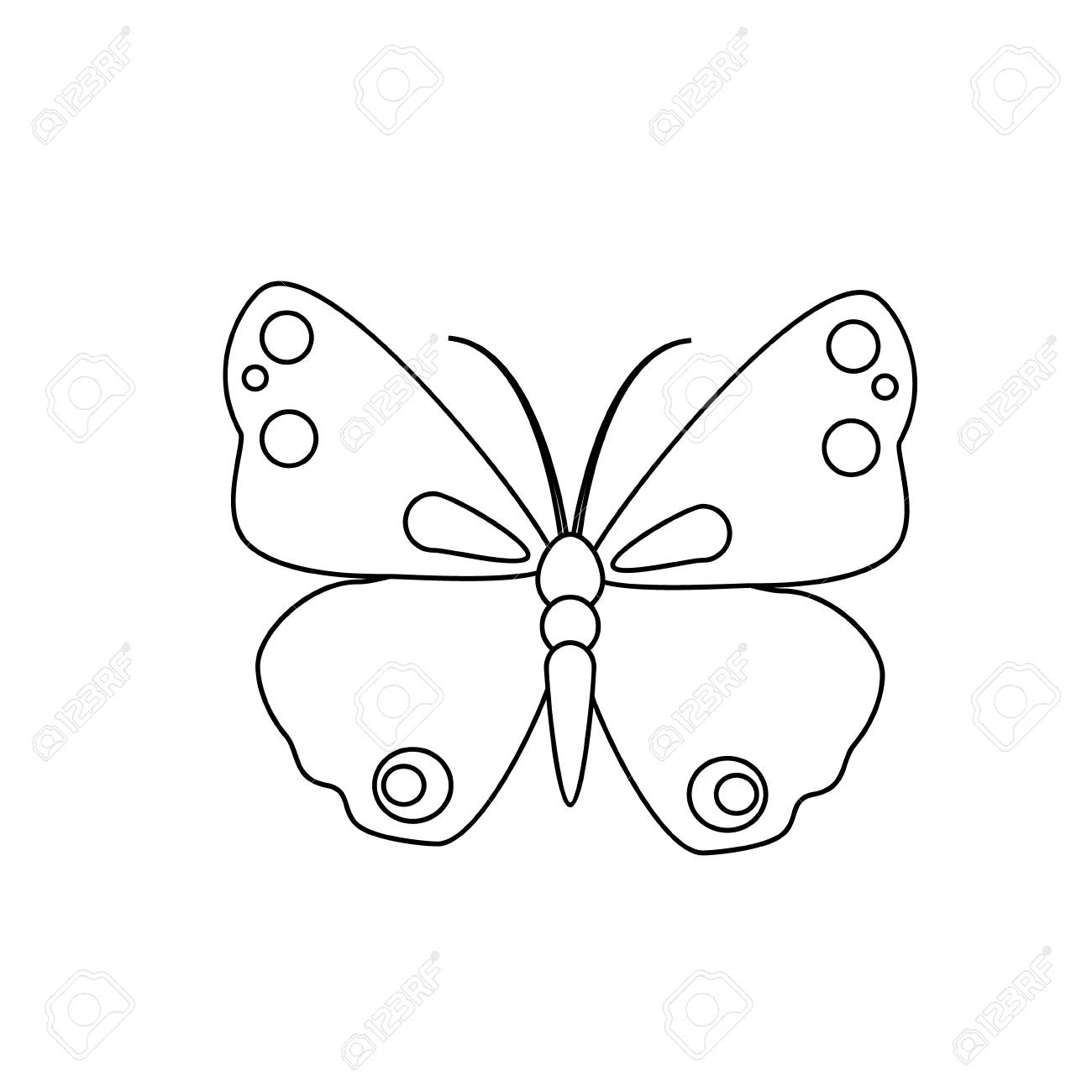 Outline drawing butterfly isolated on white background pretty raster butterfly spring line icon stock photo