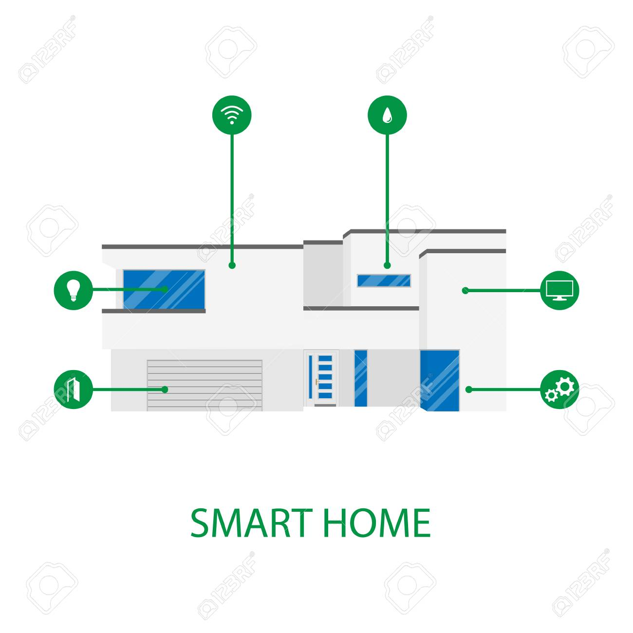 Mobile Phone Smart Home House App Application Concept Automation System Vector Illustration Stock