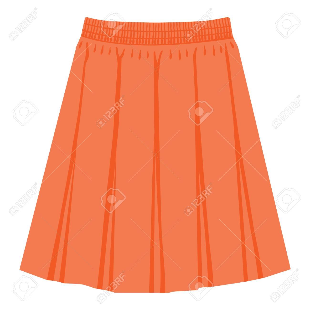 Vector orange skirt template, design fashion woman illustration. Women box pleated skirt - 116070617