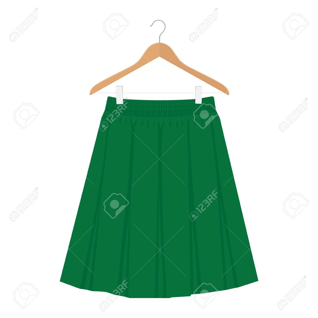 Vector green skirt template, design fashion woman illustration. Women box pleated skirt on hanger - 116070662