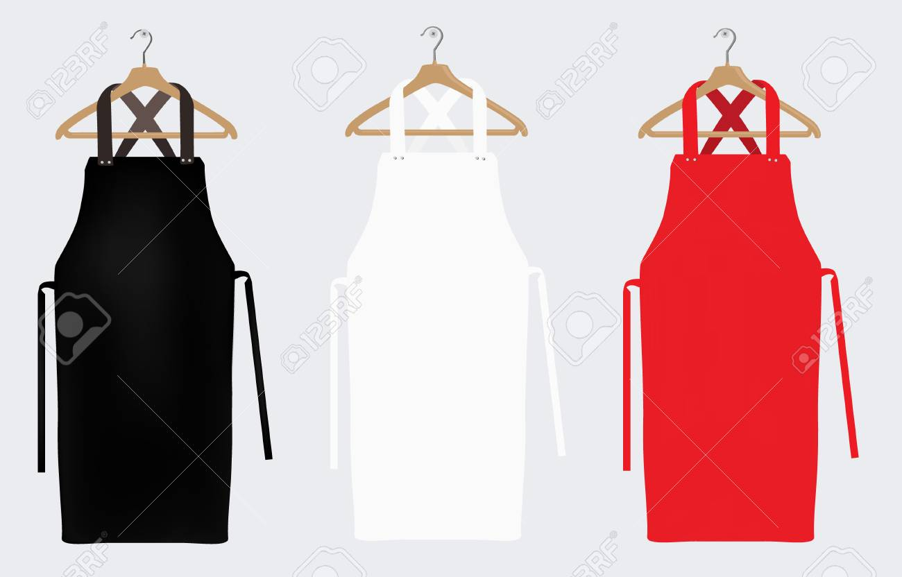 White, red and black aprons, apron mockup, clean apron. Raster illustration - 116457971