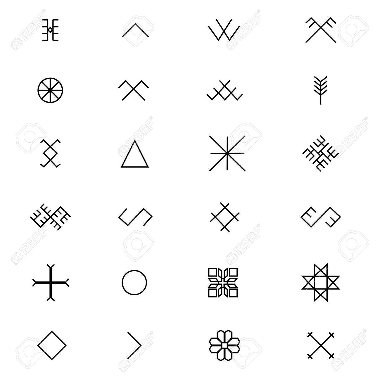Variations Of The Ancient Latvian Sign Symbols Raster Set