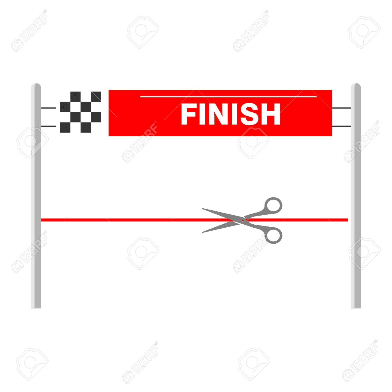 low priced 80363 b7f29 Red ribbon finishing line. Finish. raster illustration Stock Illustration -  116572478