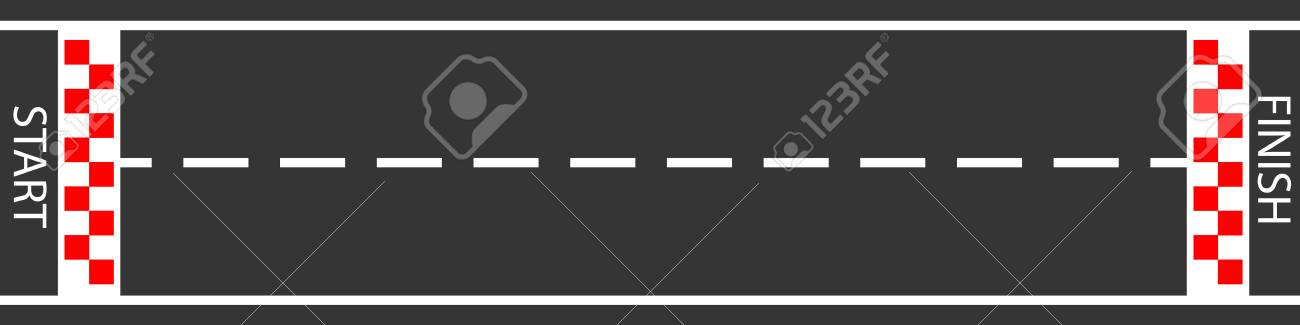 raster illustration of finish line racing background top view. Start or finish on kart race. Asphalt road. - 116572507