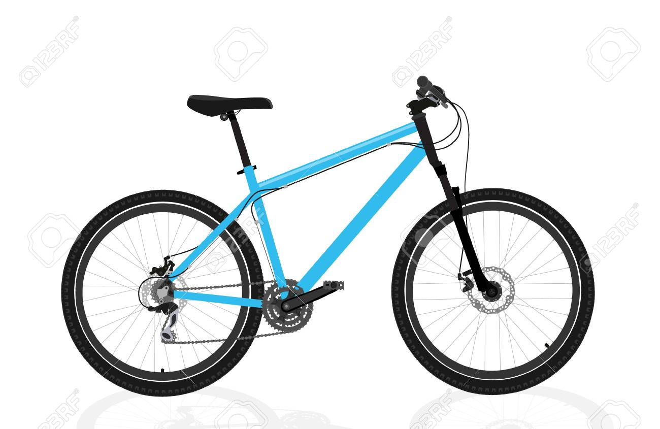 New blue bicycle isolated on a white background - 125058908