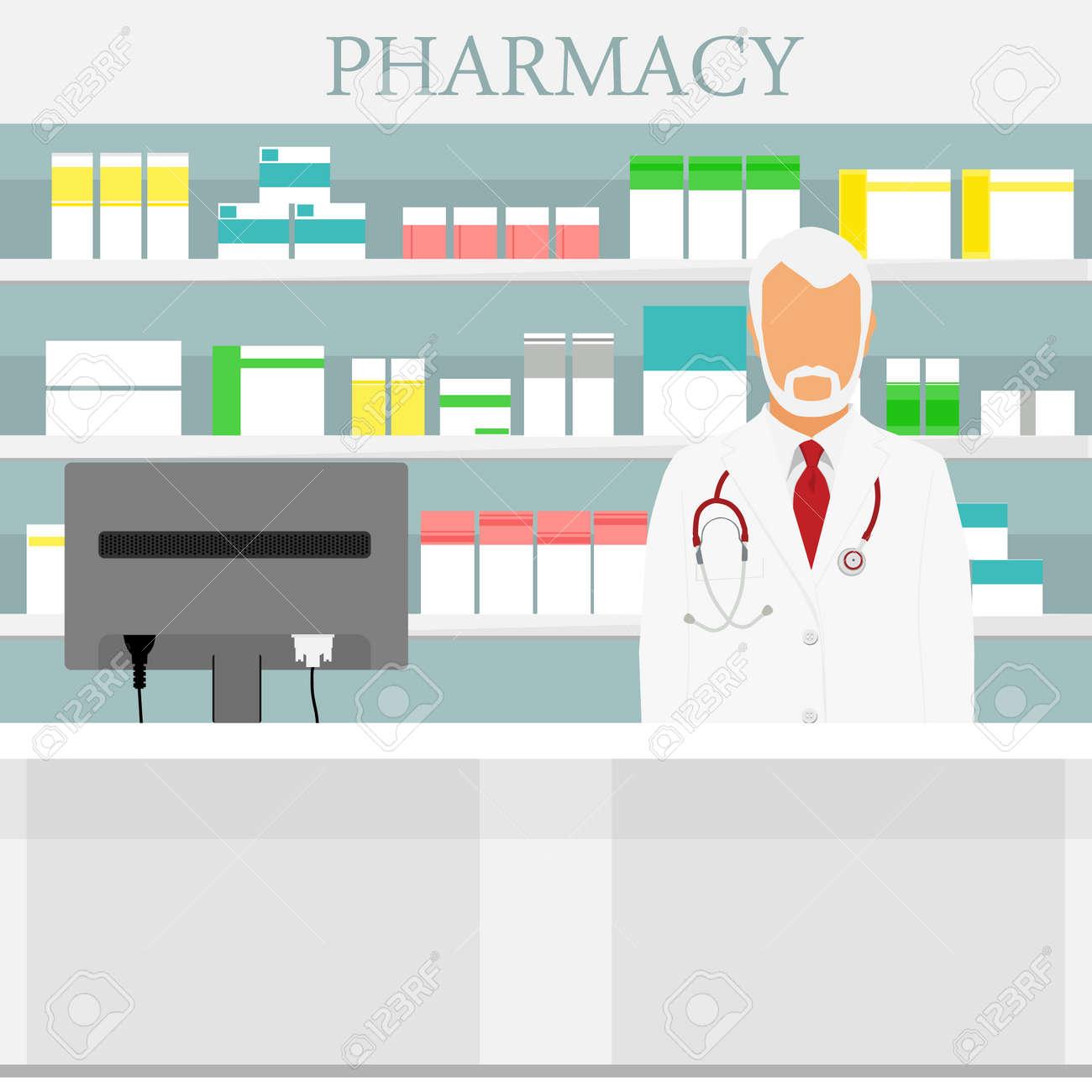 Old man senior pharmacist in pharmacy or drugstore. Raster illustration - 122319002