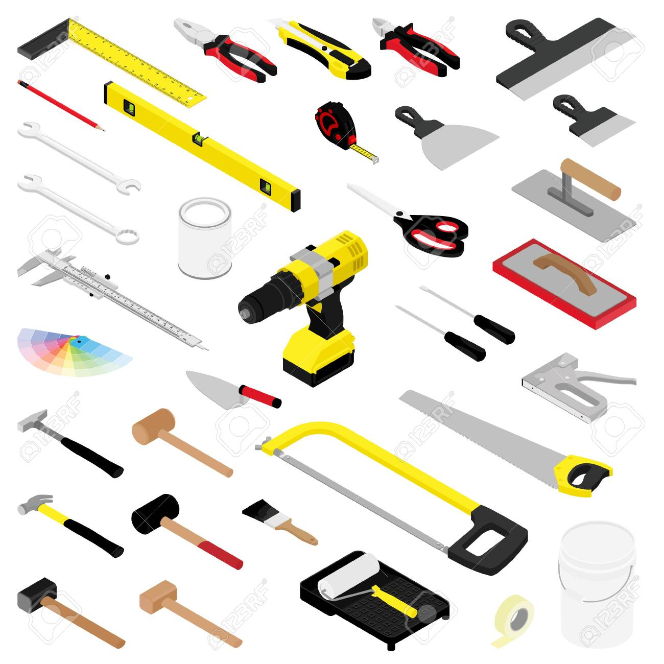Collection of diy hand tools isolated on white background isometric view - 154537978