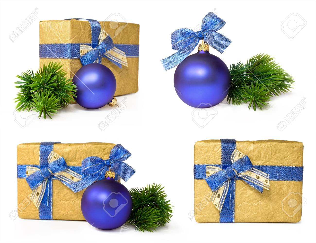Christmas gift set with the blue ball Isolated on white Stock Photo - 16263687