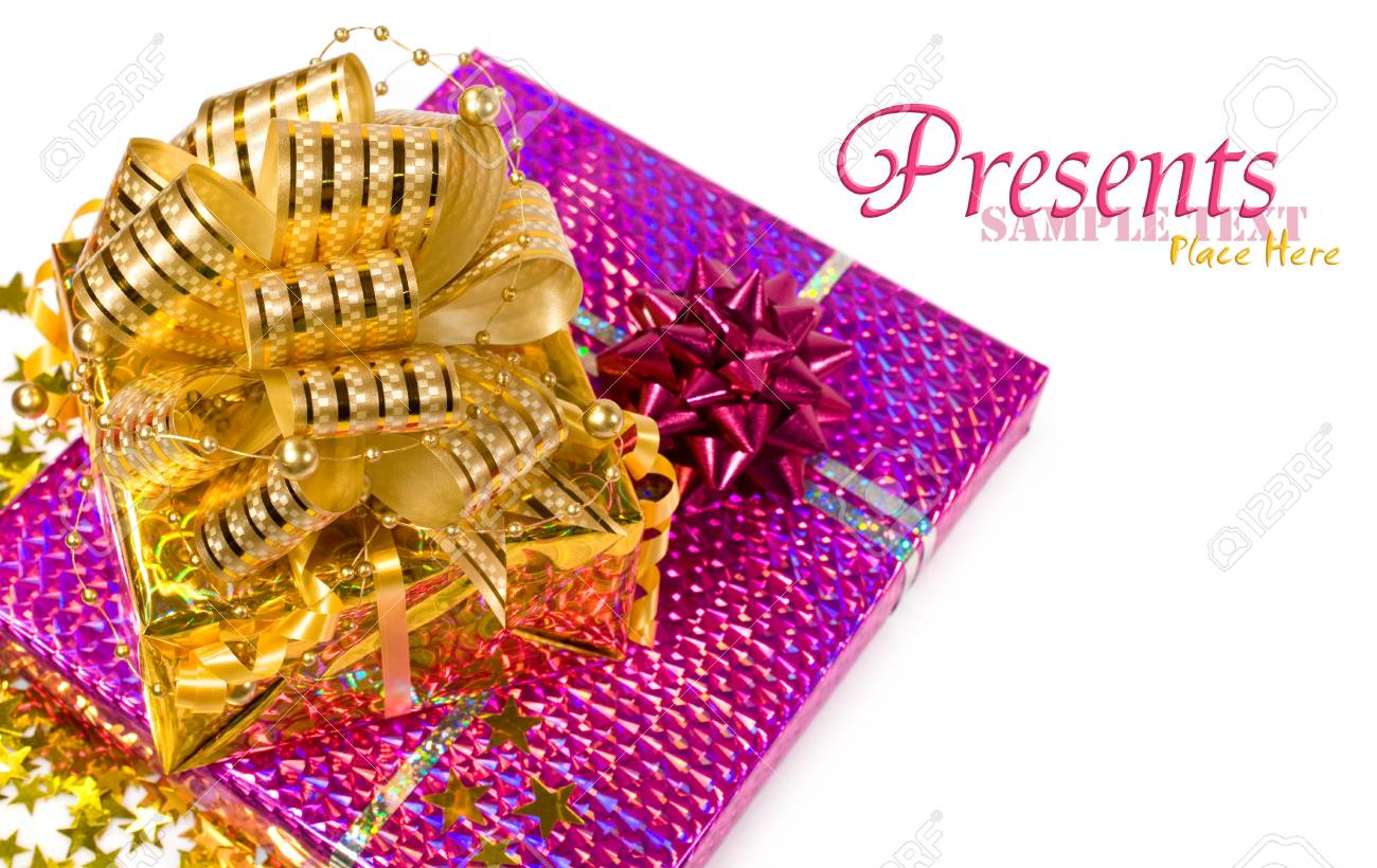 pink and gold gift boxes isolated on white Stock Photo - 16570351
