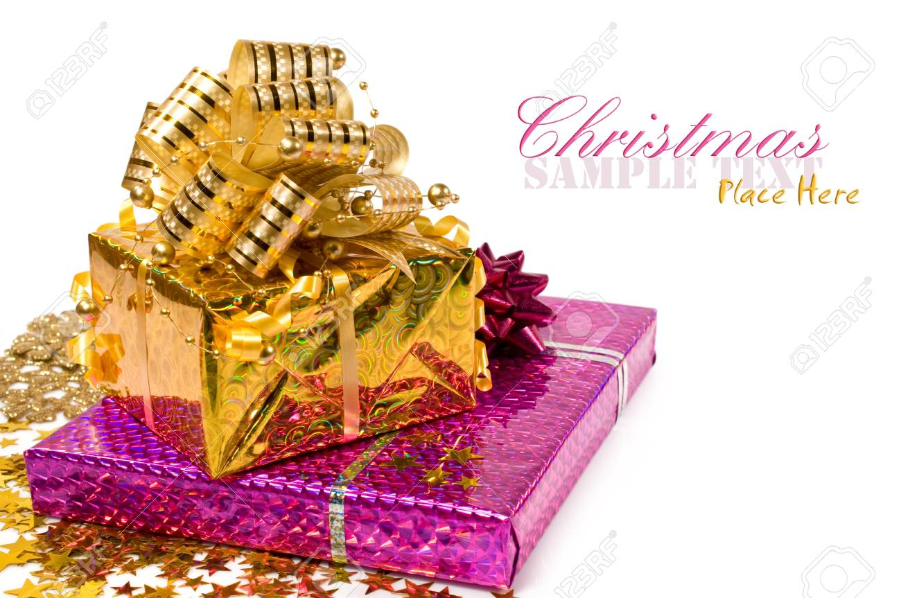 Christmas presents and confetti isolated on white Stock Photo - 16573483