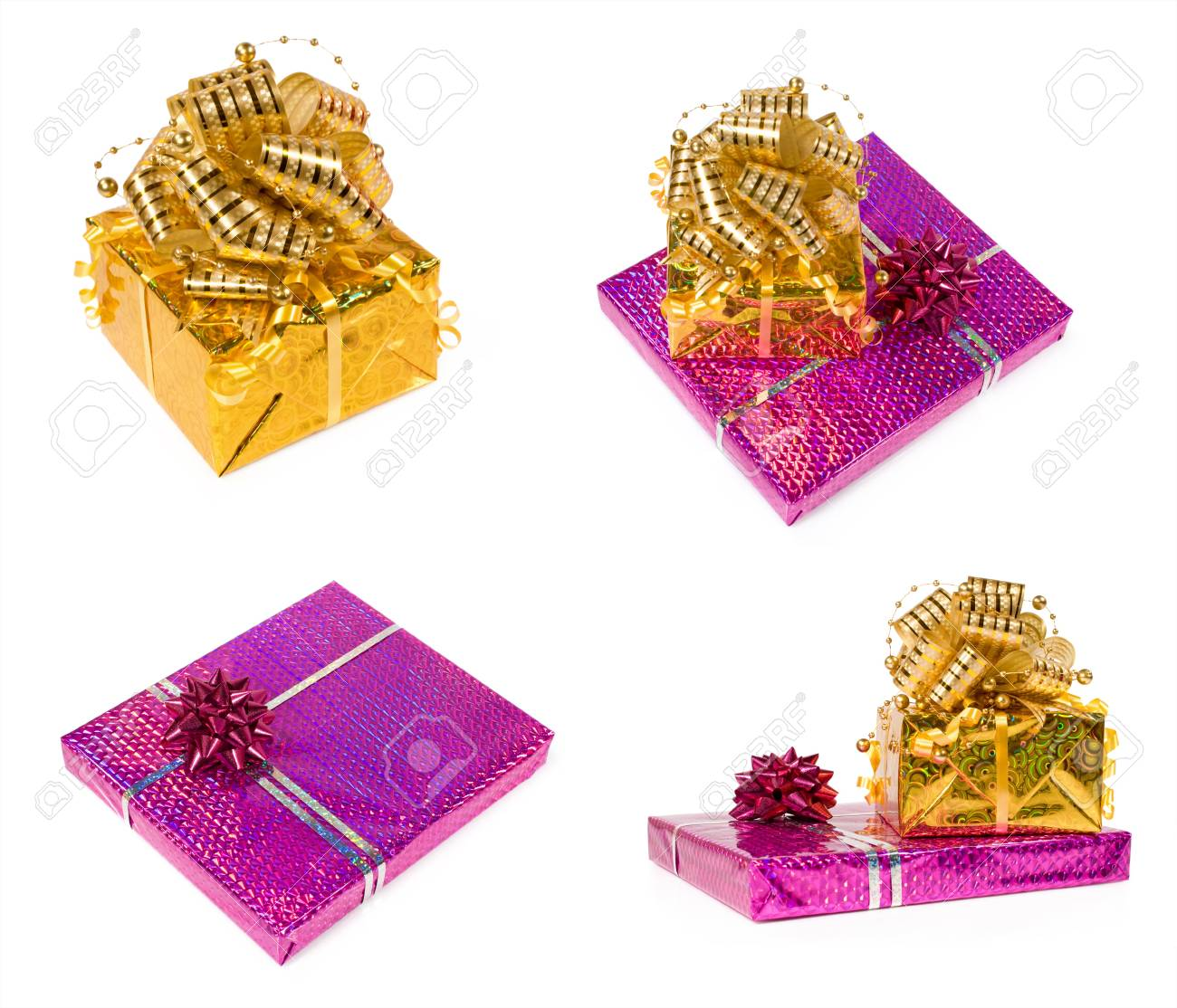 set of gift boxes isolated on a white Stock Photo - 16593949