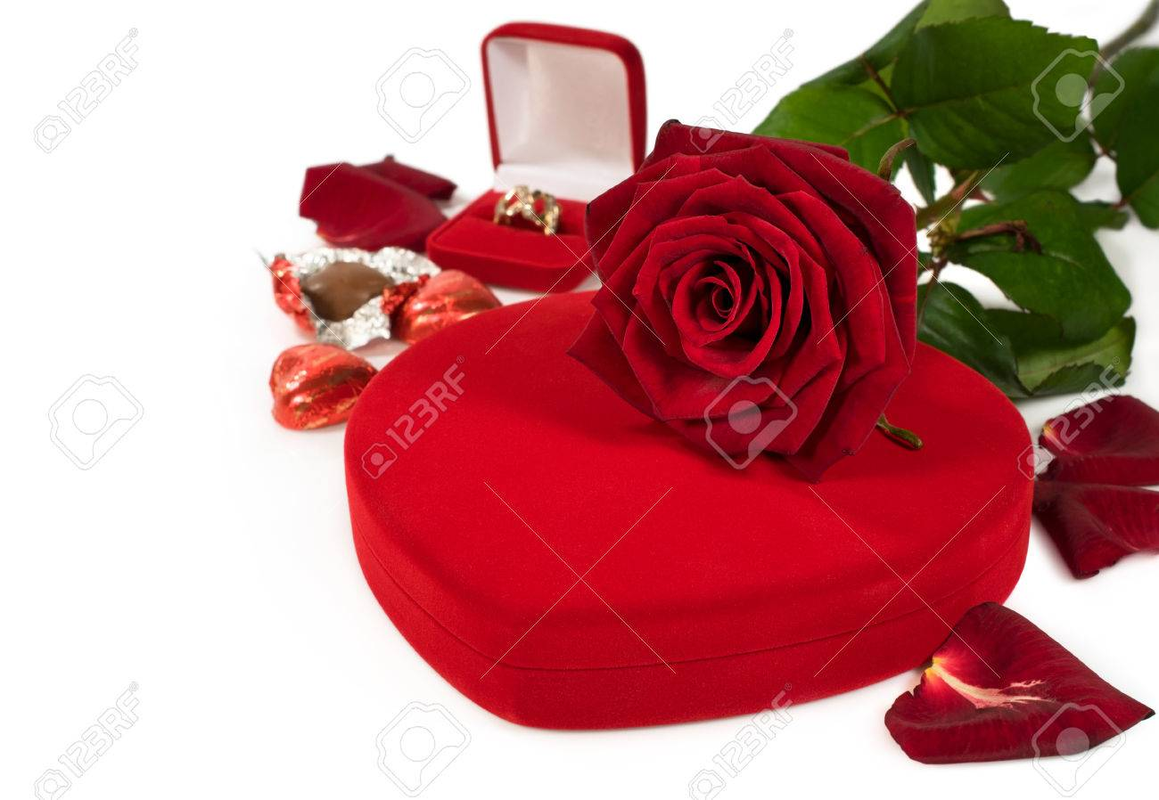 Gifts For Valentine S Day Flowers Chocolates Jewelry Isolated