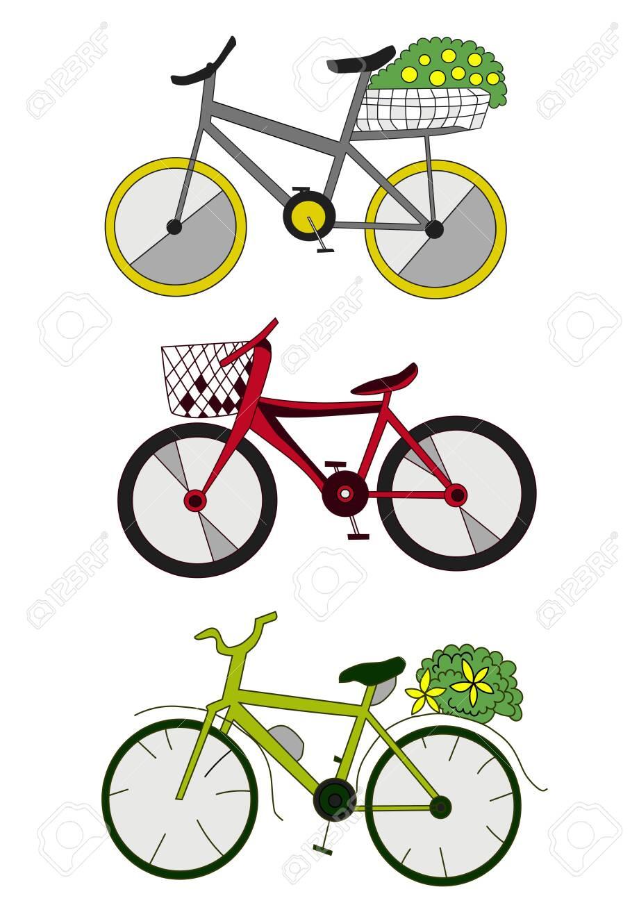 three colored bikes cartoon vector art isolated on white - 148102069