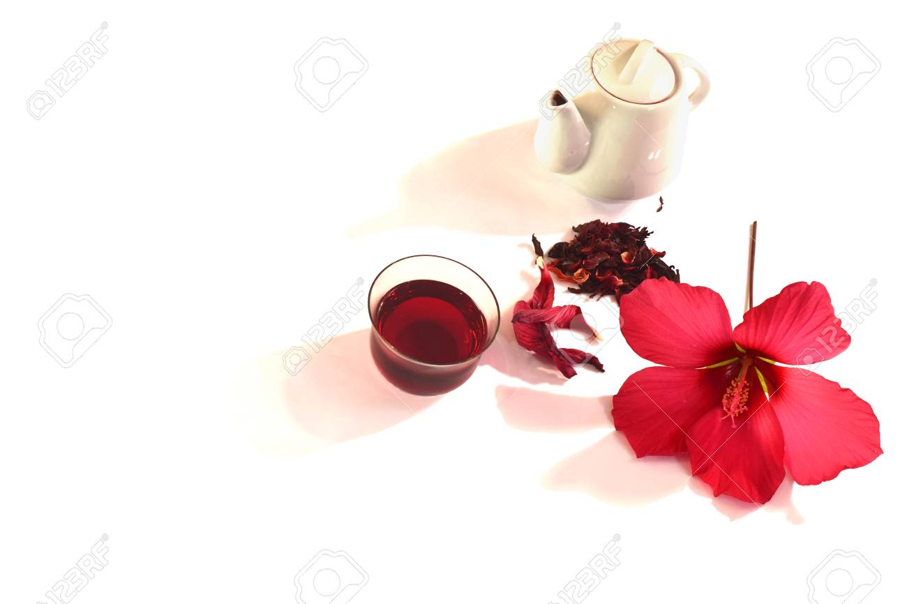 A Glass Of Hibiscus Tea Hibiscus Flower And Its Petals Isolate