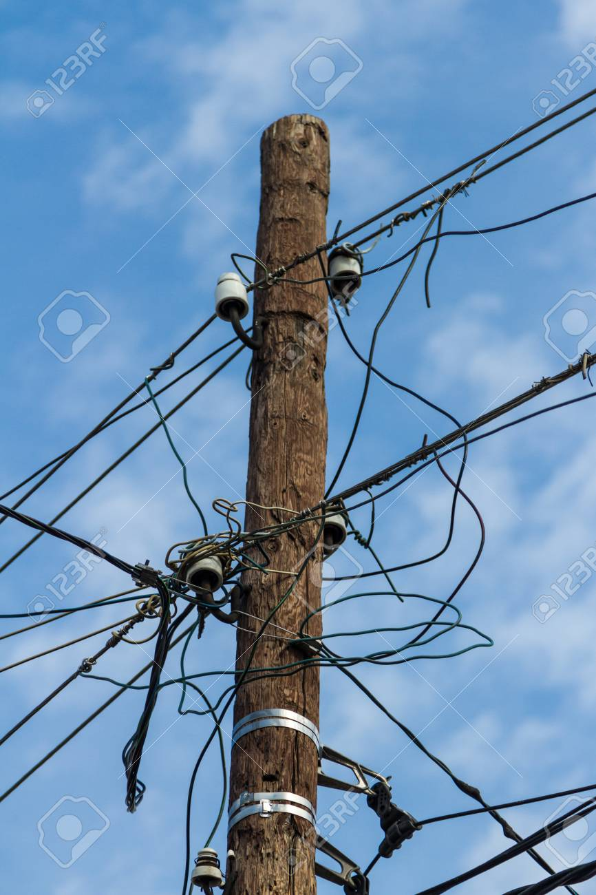 Connect Electric Wires On A Street Pole Stock Photo, Picture And ...