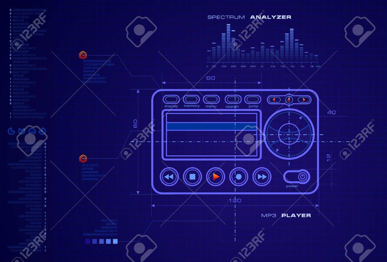 Mp3 player blueprint royalty free cliparts vectors and stock mp3 player blueprint stock vector 3438246 malvernweather Choice Image