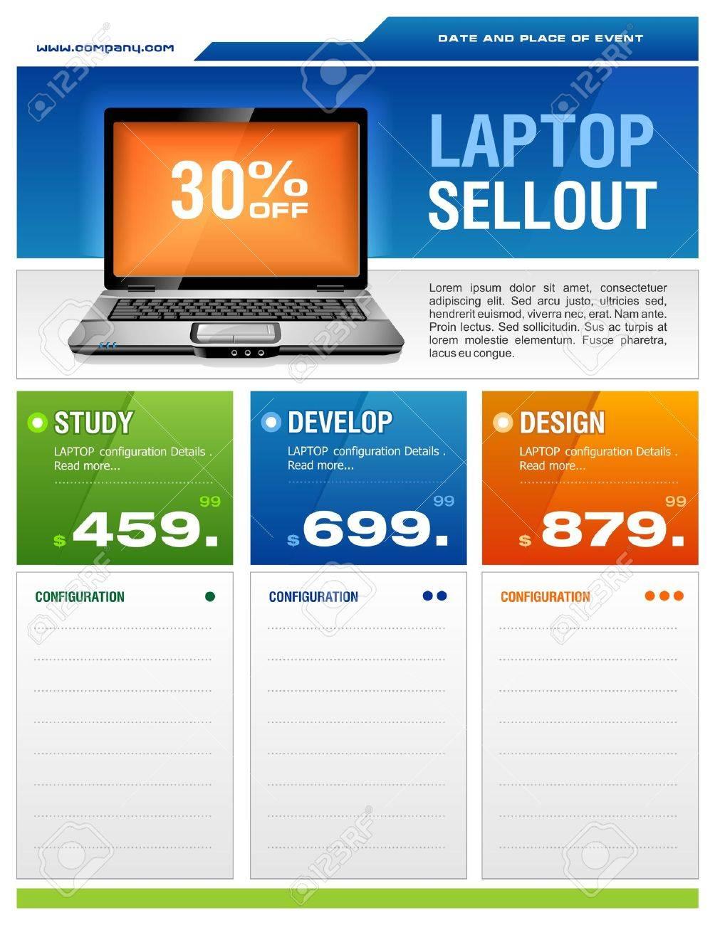 Clean design of laptop sale flyer Stock Vector - 3763791