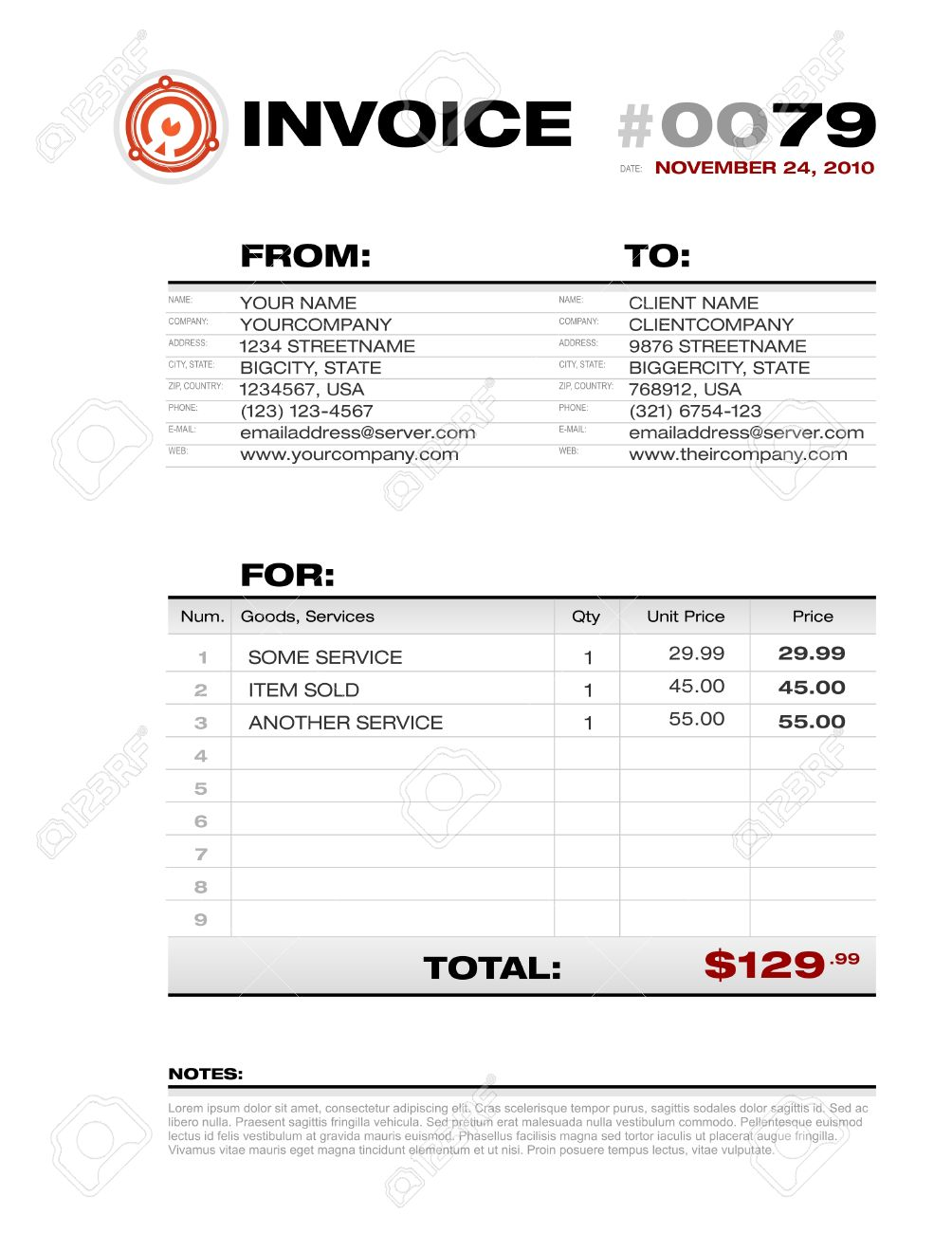 Invoice Template Royalty Free Cliparts Vectors And Stock - Invoice template usa