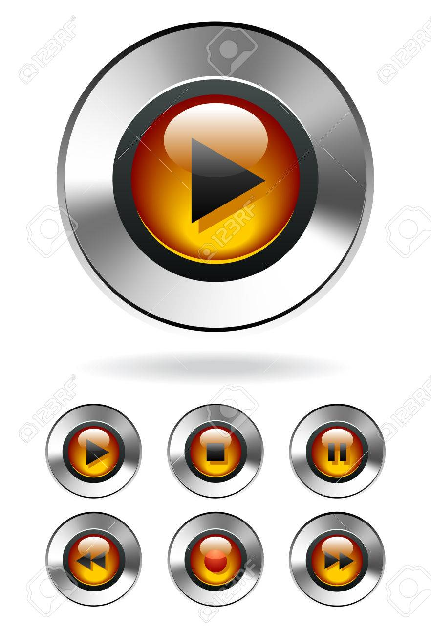 Music Player Buttons Stock Vector - 8418091