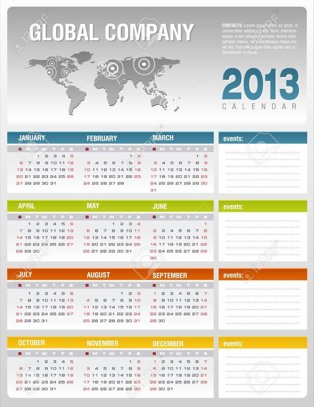 2013 Corporate Calendar Template Royalty Free Cliparts, Vectors ...