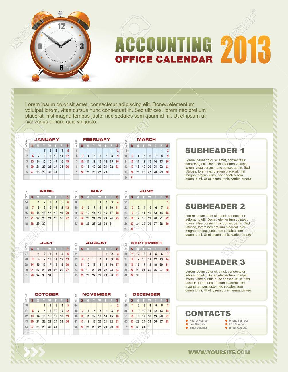 2013 Accounting Corporate Office Calendar Template Grid With