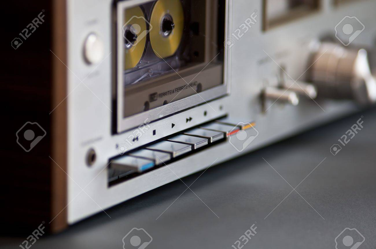 10d892928f8c Stereo Cassette Tape Deck Analog Vintage player controls Stock Photo -  15099162