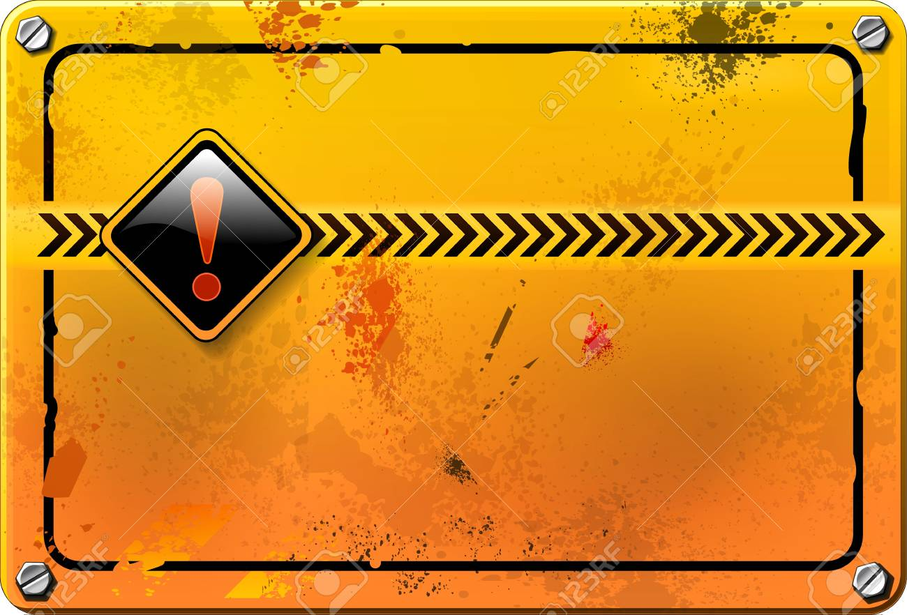 Yellow grunge warning sign Stock Photo - 17471968