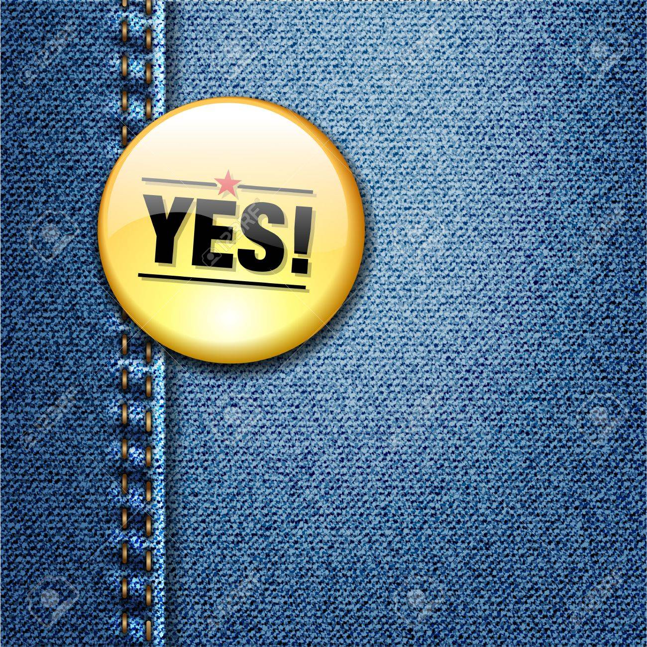 YES Word Colorful Badge on Denim Jeans Fabric Texture Stock Vector - 17584122