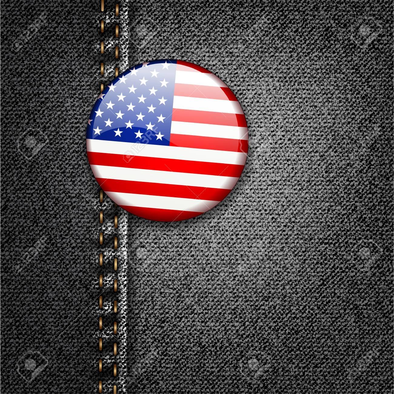 American Flag Badge On Jeans Denim Texture Stock Vector - 17584118