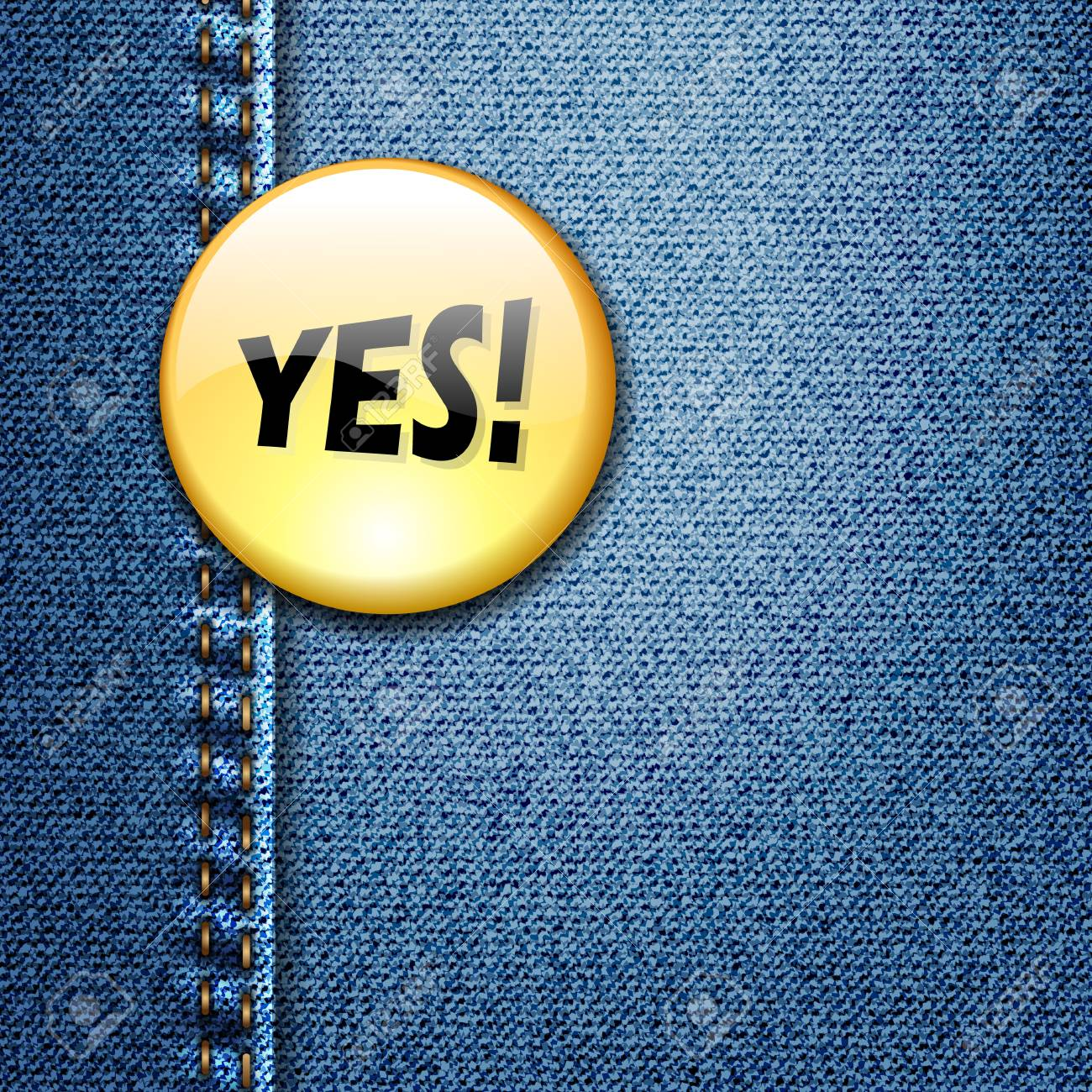 Bright Colorful Badge with word YES  on Denim Fabric Texture Stock Vector - 17707580