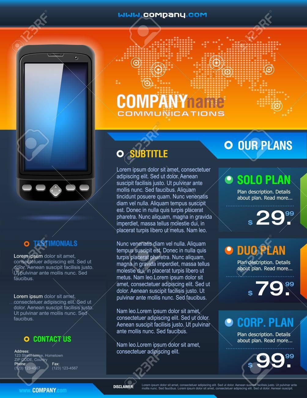 Smart Phone Telecom Provider Brochure detailed vector Stock Vector - 19126071