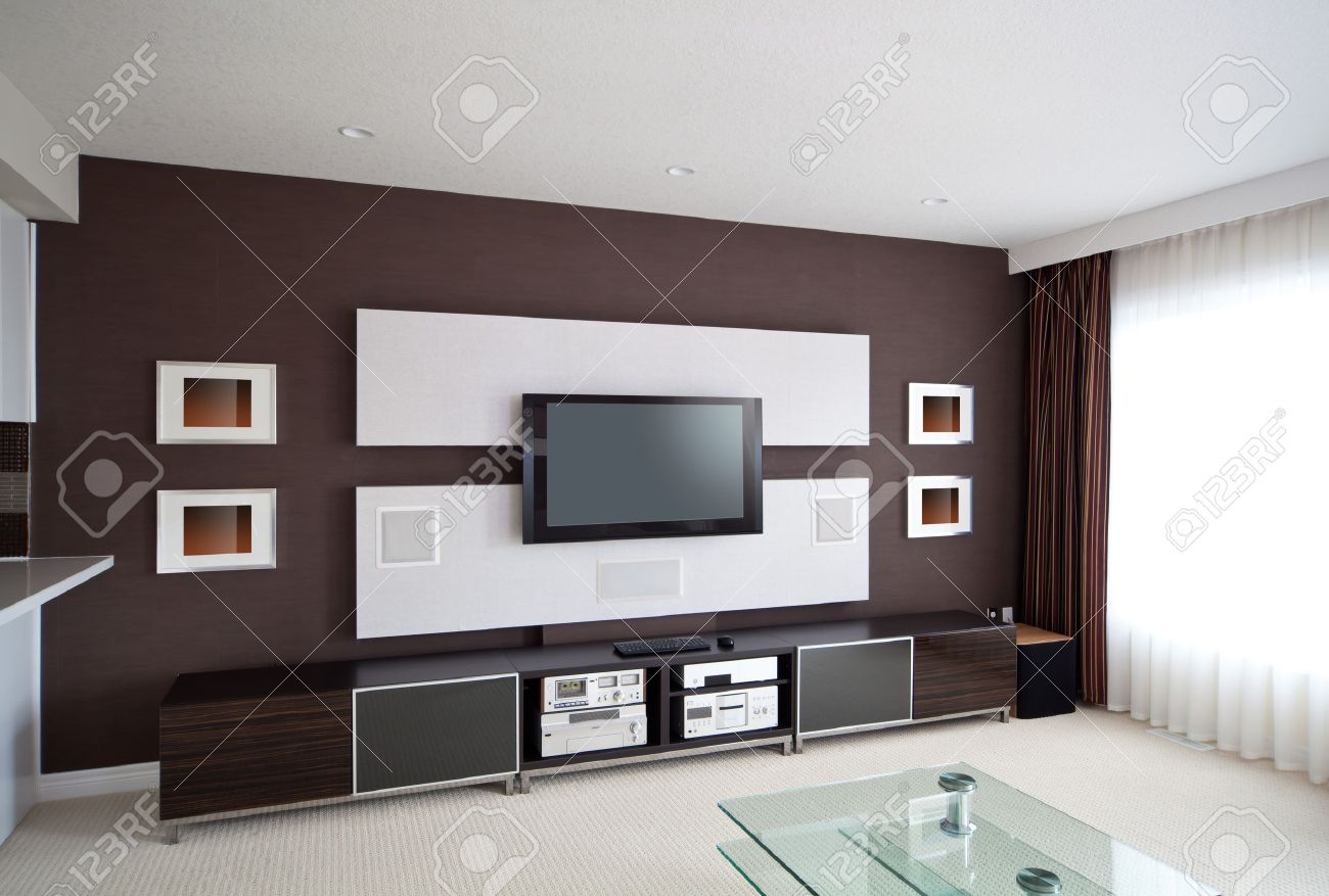 Modern Home Theater Room Interior With Flat Screen TV Stock Photo   23179243