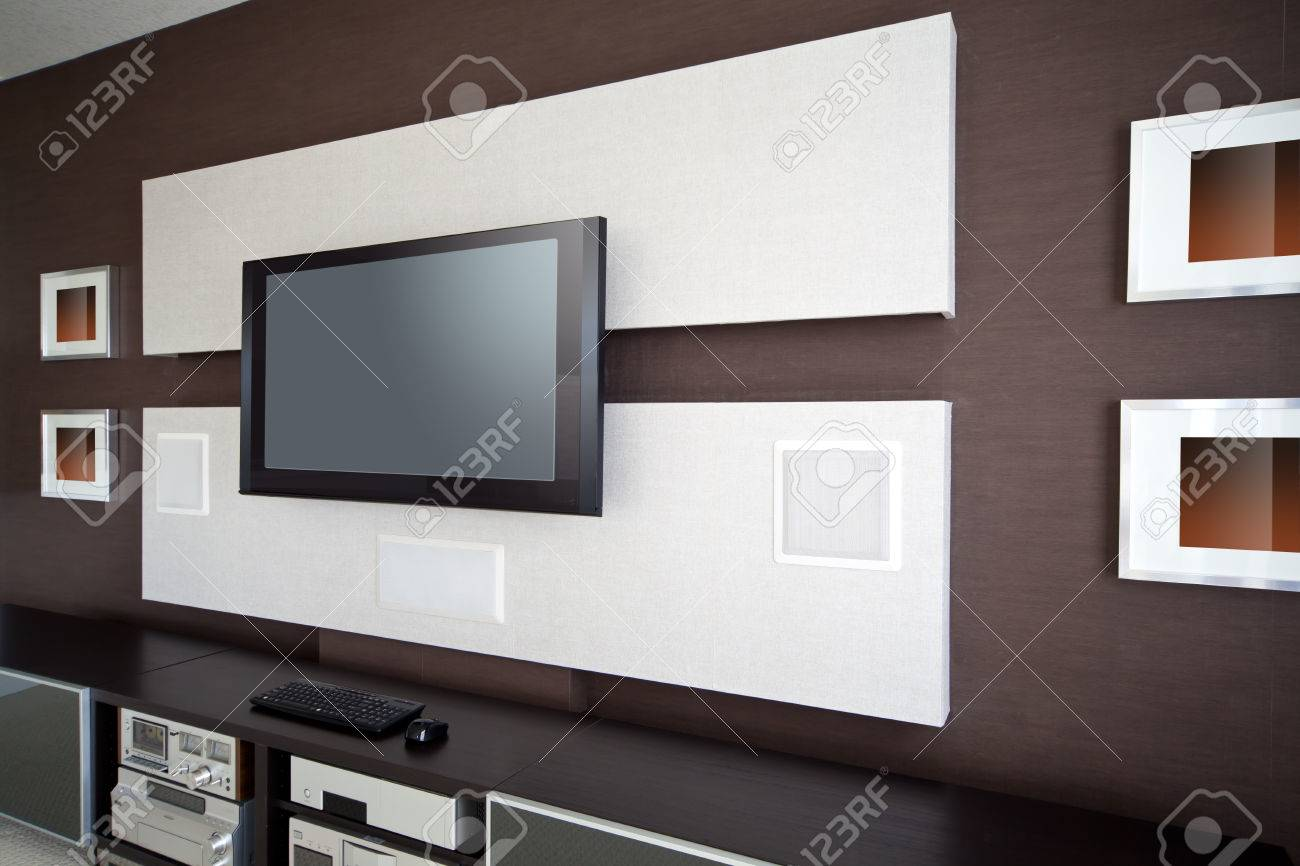 Modern Home Theater Room Interior With Flat Screen TV Stock Photo ...