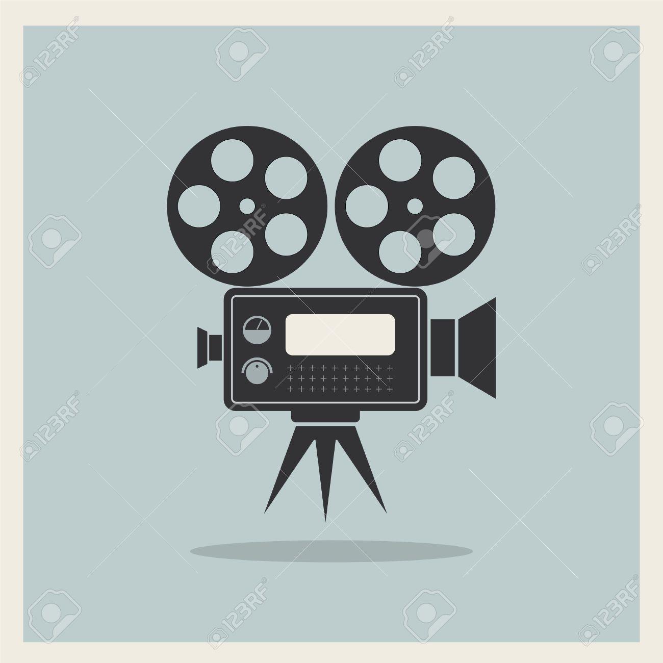 vector video movie camera on retro background vector