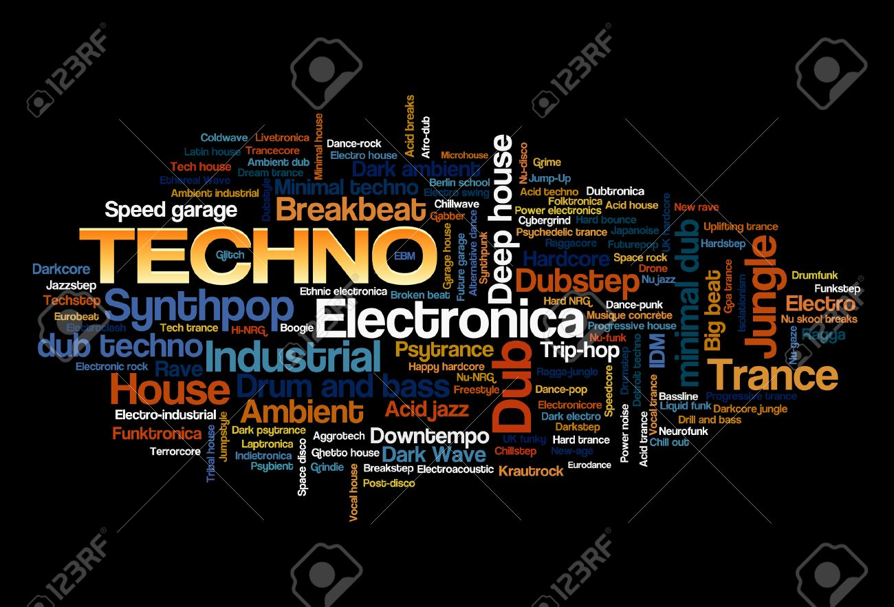 Electronic Techno Music Styles Word Cloud Bubble Tag Tree vector isolated on black Stock Vector - 26866940