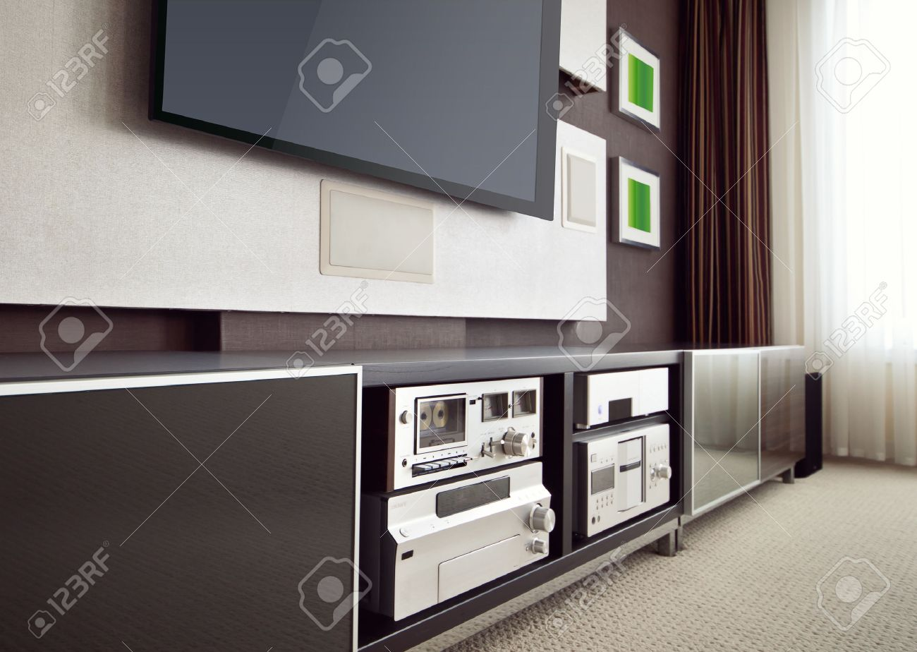 modern home theater room interior with flat screen tv angled modern home theater room interior with flat screen tv angled perspective view stock photo 39696519