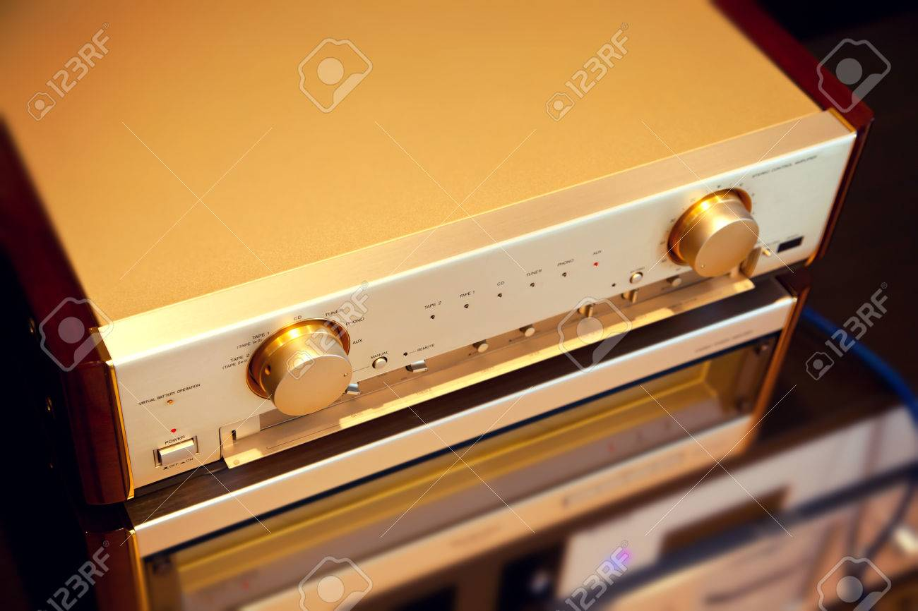 Vu Meter Stock Photos Royalty Free Images For Power Amplifiers Two Amplifier Vintage Audio Stereo System Luxury High End Top Diagonal View Photo